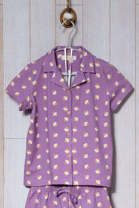 Kız Çocuk Cupcake Baskılı Şortlu Pijama Takımı