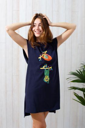 Kadın Kısa Kollu Yırtmaç Detaylı Elbise