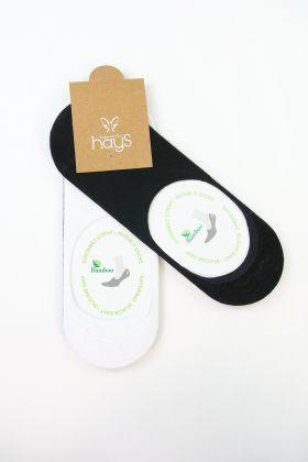 Erkek 2'Li Pamuk Patik Çorap Siyah-Beyaz