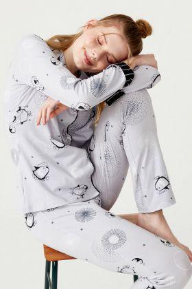 Kadın Penguen Baskılı Pamuklu Gömlek Pijama Takımı