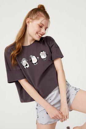 Kadın Penguen Baskılı Pamuklu Şortlu Pijama Takımı