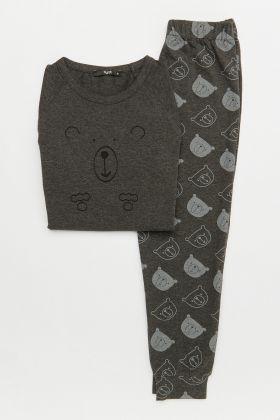 Erkek Çocuk Ayıcık Baskılı Uzun Pijama Takımı