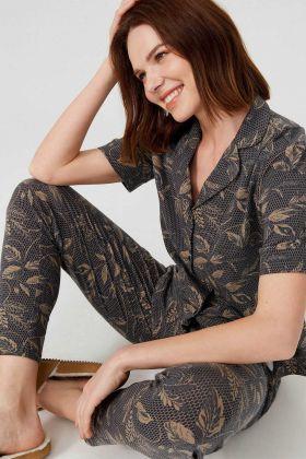 Kadın Pamuklu Kısa Kollu Gömlek Pijama Takımı
