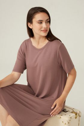 Kadın Büyük Beden Kısa Kollu Modal Elbise