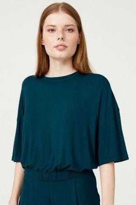 Kadın Yarım Kollu Beli Lastikli Modal Crop T-shirt