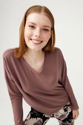 Kadın V Yaka Uzun Kollu Modal T-shirt