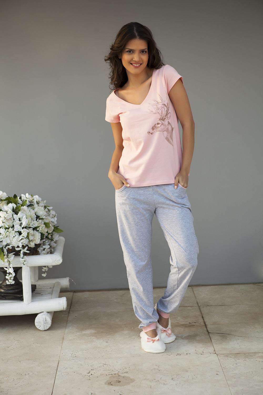 Hays Melanj In Penye Kadın Üst Kısa Kol Uzun Pijama Takımı